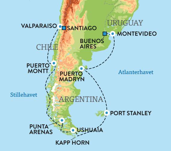 magellanstredet kart Cruise Sør Amerika med kapp Horn magellanstredet kart