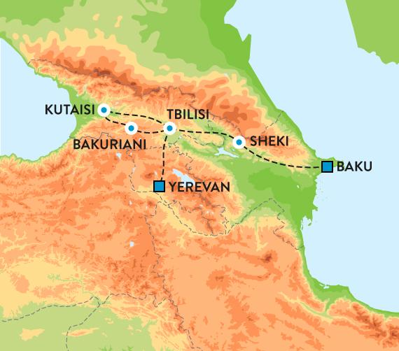 kart over kaukasus Rundreise i Aserbajdsjan, Georgia og Armenia kart over kaukasus