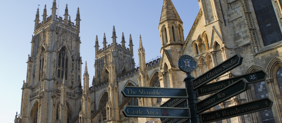 The York Minster Cathedral with City signs in front