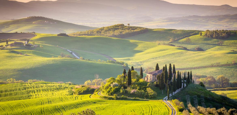 Soloppgang Toscana, Italia