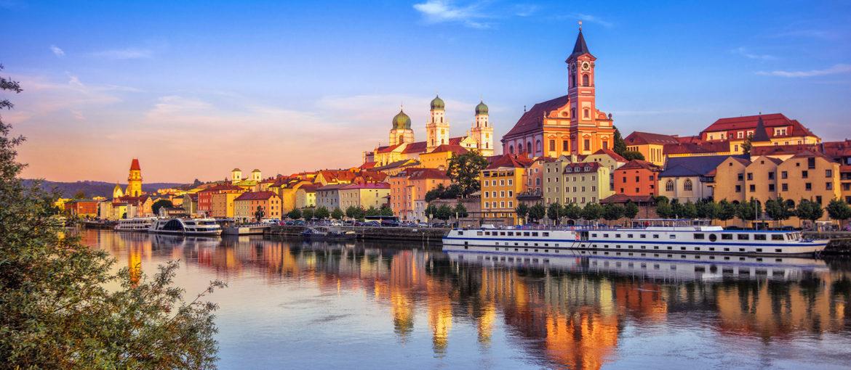 Passau i solnedgang