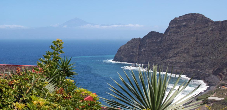 La Gomera, utsikt mot Tenerife og fjellet Teide