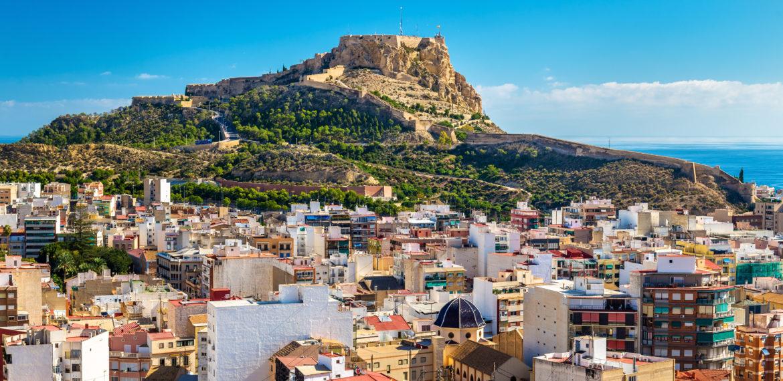 Spania, utsikt mot Santa Barbara Castle, Alicante