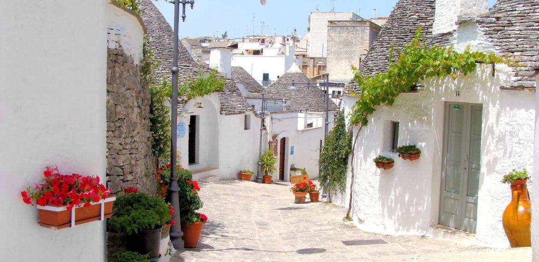 Trullihusene i Alberobello ligger tett i tett