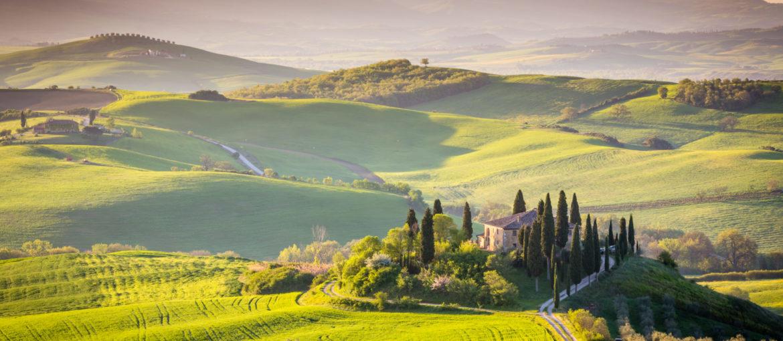 Bølgende, toscansk landskap.
