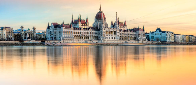 Hungarian Parliament at sunset, Budapest, Hungary.