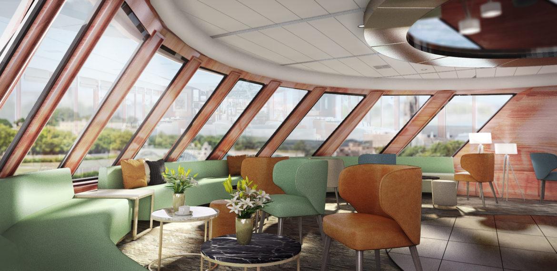 Lounge på elvecruiseskip